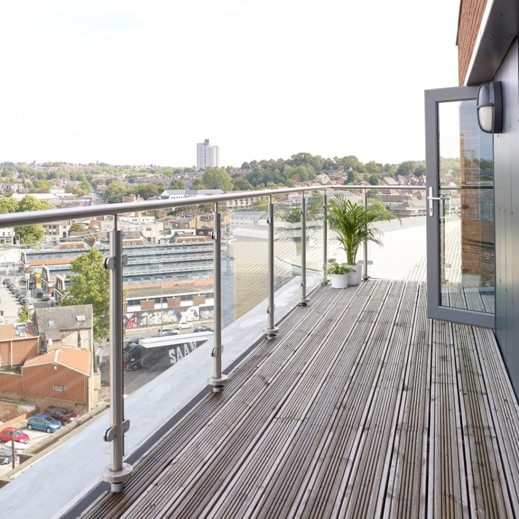 views of Nottingham from a extra large premium studio room at Lace Market Studios