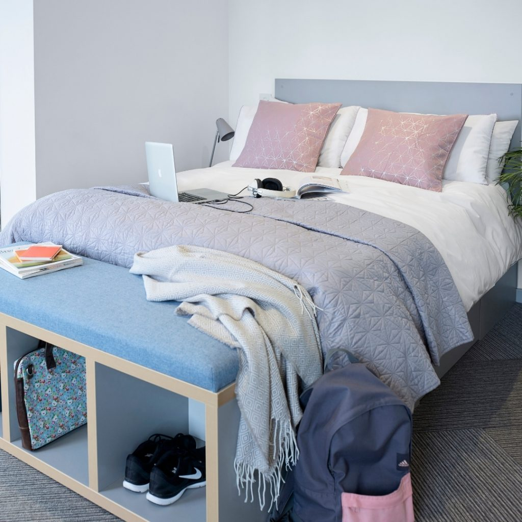 Double Bed with storage space in a studio at Lace Market Studios