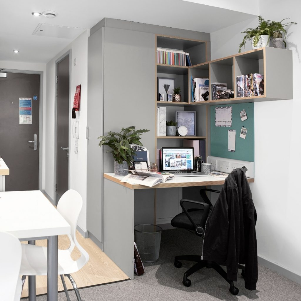 Study space in a studio room in Nottingham