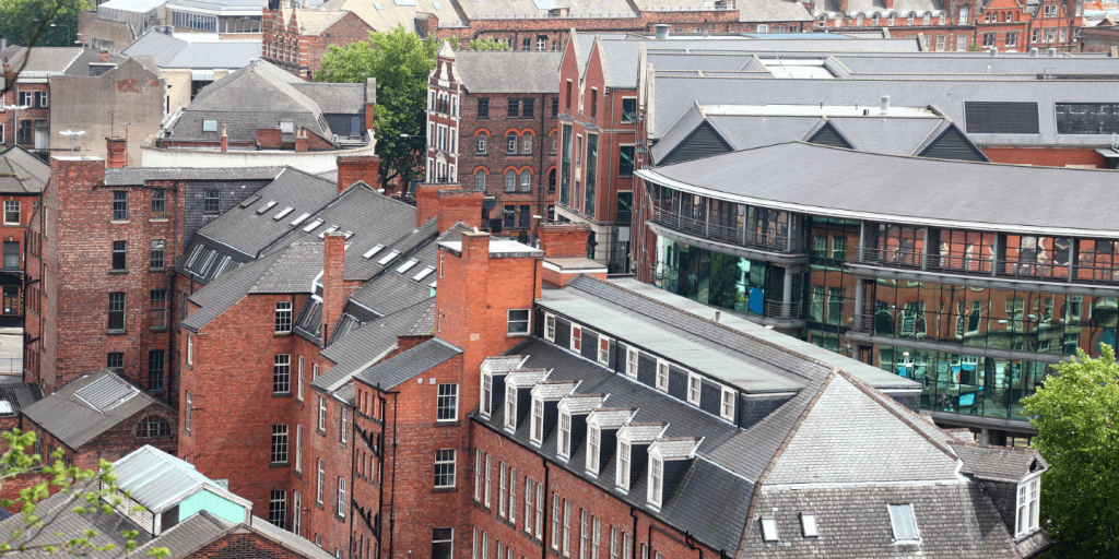 Victorian and modern buildings in lace market, nottingham